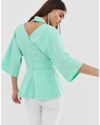 Top à manches kimono avec découpe sur l'épaule - Menthe Lavish Alice en coloris Green