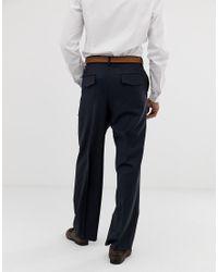 Pantalon large habillé 100% laine - Bleu marine ASOS pour homme en coloris Blue