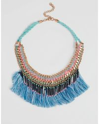 New Look - Multicolor Tassel Fringe Necklace - Lyst