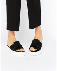 ASOS Black Asos Folco Bow Sliders