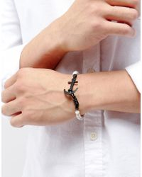 Icon Brand - Anchor Marble Beaded Bracelet In White - Lyst