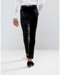 ASOS Super Skinny Smart Trousers In Black Velvet