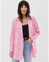 Vero Moda Pink Bright Check Double Breasted Blazer