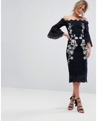 Hope and Ivy - Blue Hope & Ivy Bardot Lace Pencil Dress With Embroidery - Lyst