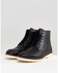 ASOS - Lace Up Boots In Black Leather With White Sole for Men - Lyst