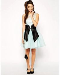 ASOS Blue Skater Dress With Bow