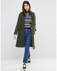 ASOS Green Coat In Boyfriend Fit
