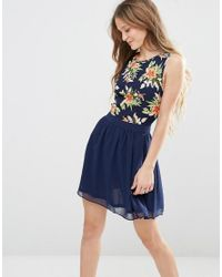 Lyst - Rage Madam Skater Dress With Floral Top in Blue 9fd86df3f