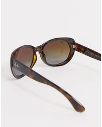 Rayban - Occhiali da sole oversize tondi marrone tartarugato di Ray-Ban in Brown