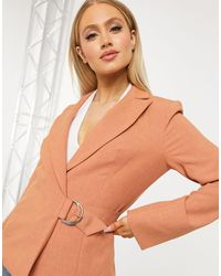 4th & Reckless Orange 4th + Reckless Suit Blazer With Side Buckle