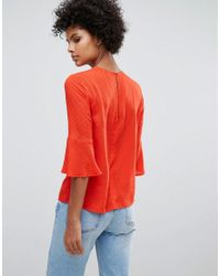 Warehouse - Fluted Sleeve Textured Top - Lyst