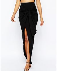 ASOS - Black Maxi Skirt With Twist Knot - Lyst