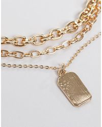 ASOS Metallic Asos Design Curve Multirow Necklace With Mixed Link Chain And Tag Pendant In Gold