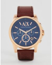 Armani Exchange - Brown Chronograph Watch With Leather Strap Ax2508 for Men - Lyst