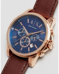 Armani Exchange | Brown Chronograph Watch With Leather Strap Ax2508 for Men | Lyst