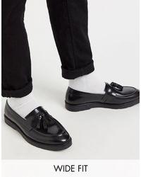 Черные Кожаные Лоферы Для Широкой Стопы С Кисточками ASOS для него, цвет: Black