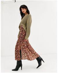Falda midi con abertura en la pierna multicolor TOPSHOP de color Brown