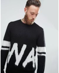 ASOS Black Fluffy Jumper With Monochrome Graphic for men