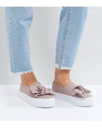 ASOS Natural Asos Discovery Wide Fit Bow Flatform Plimsolls