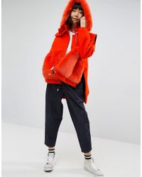 ASOS - Orange Bright Faux Fur Pocket Coat With Hood - Lyst