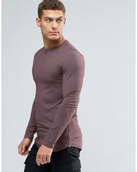 ASOS Red Longline Muscle Long Sleeve T-shirt With Zips And Curve Hem for men