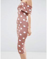 ASOS - Brown Polka Dot Short Sleeve Bardot Midi Dress - Lyst