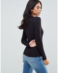 ONLY Black Rib Lace Up Chest Long Sleeved Top