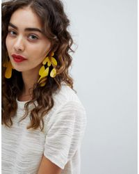 ASOS - Earrings In Rounded Geo Shape Design In Yellow - Lyst
