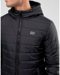 Blend - Black Hooded Quilted Jacket for Men - Lyst