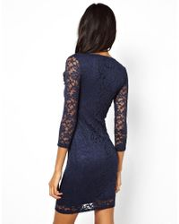 ASOS - Blue Mini V Neck Lace Bodycon Dress - Lyst