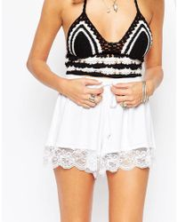 ASOS White High Waisted Jersey Shorts With Lace Hem