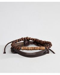 Icon Brand - Brown Leather & Beaded Bracelet In 2 Pack for Men - Lyst