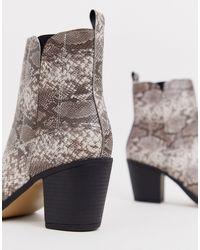 Bottes larges à talons style western avec bouts renforcés motif serpent Truffle Collection en coloris Multicolor