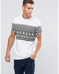 ASOS Longline T-shirt With Sketchy Aztec Print In White for men