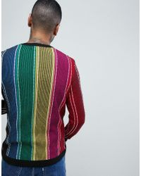 ASOS - Multicolor Knitted Ribbed Jumper With Vertical Rainbow Stripes for Men - Lyst