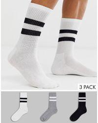 Confezione da 3 paia di calzini sportivi a righe monocromatici di New Look in Blue da Uomo