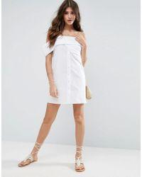 ASOS - One Shoulder Fold White Cotton Poplin Mini Dress - Lyst