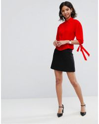 ASOS - Red Waisted Puff Sleeve Shirt - Lyst