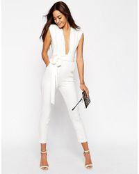 ASOS White Plunge Front Tailored Jumpsuit