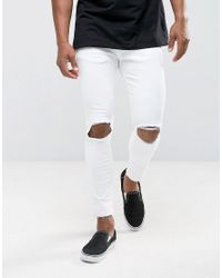 Pull&Bear - Super Skinny Jeans With Knee Rips In White for Men - Lyst