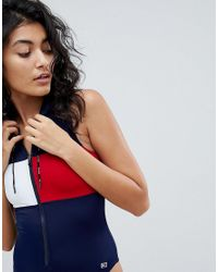 Tommy Hilfiger - Blue Swimsuit With Hood - Lyst