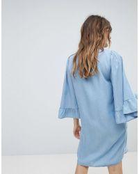 ONLY - Blue Denim Shift Dress Wth Ruffle Sleeve - Lyst