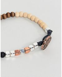 Classics 77 - Black Mixed Beaded Bracelet With Burnished Copper Button Closure for Men - Lyst