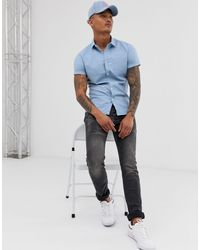 Camisa Oxford azul ajustada estilo casual ASOS de hombre de color Blue