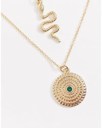 Missguided Metallic Snake Layered Gold Pendant Necklace
