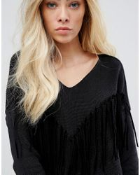Replay - Black Deep V-neck Knit With Tassels - Lyst