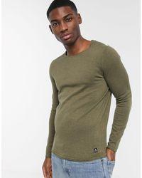 Maglione girocollo lavorato con bordi risvoltati di Tom Tailor in Green da Uomo