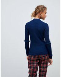 Pull à col montant - Bleu marine New Look en coloris Blue