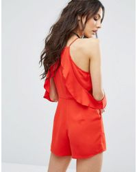 Glamorous Red Cami Playsuit With Ruffle Cold Shoulder
