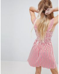ASOS DESIGN - Pink Asos Ruffle Strap Shirred Sundress In Stripe - Lyst